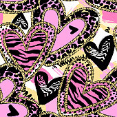 Glamour heart seamless trendy background.