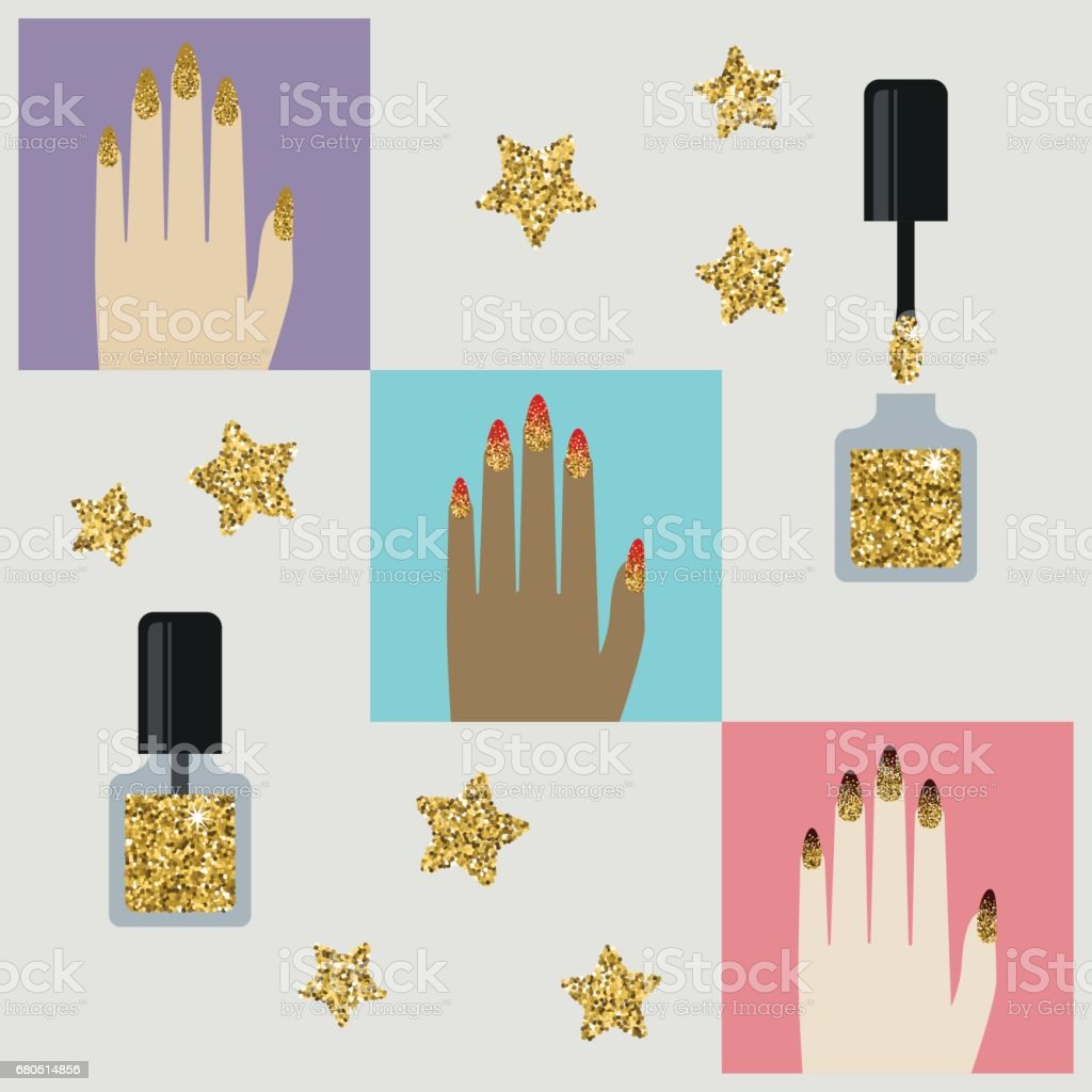 Vector glamorous icon with jeweled gold glittering elements of nail...