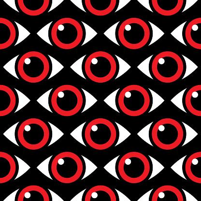 Glaring Eyes Seamless Pattern