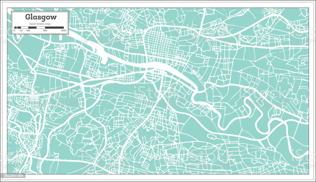 Glasgow Scotland City Map in Retro Style. Outline Map. vector art illustration