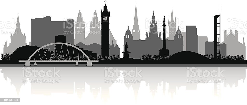 Glasgow Scotland city skyline vector silhouette vector art illustration