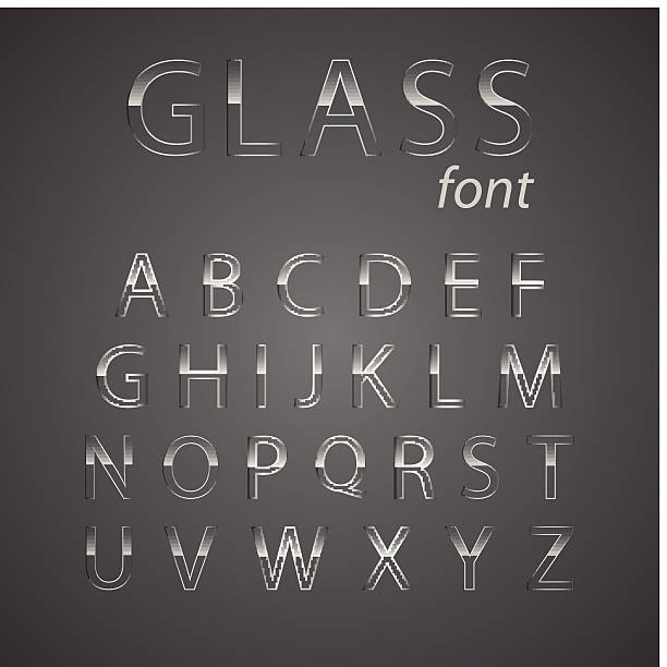 stockillustraties, clipart, cartoons en iconen met glass alphabet. - toestand