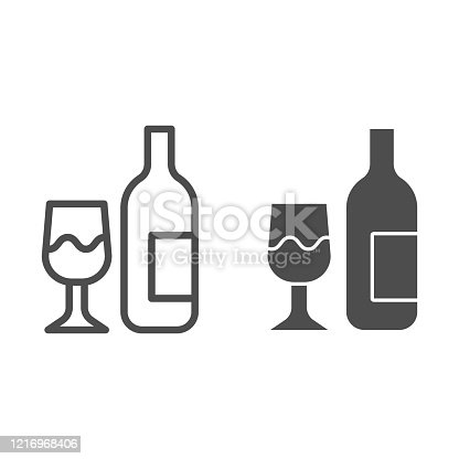 Glass and bottle line and solid icon. Wine bottle and wineglass outline style pictogram on white background. Winery signs for mobile concept and web design. Vector graphics