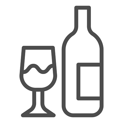 Glass and bottle line icon. Wine bottle and wineglass outline style pictogram on white background. Winery signs for mobile concept and web design. Vector graphics