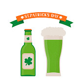 Glass and bottle of green beer isolated on white. St. Patrick's day flat vector icons. Vector element of design for your brewery logo design, poster, banner, flyer, t-shirt, bar or pub menu, etc.