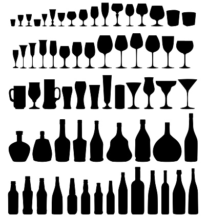 Glass and bottle vector silhouette set.
