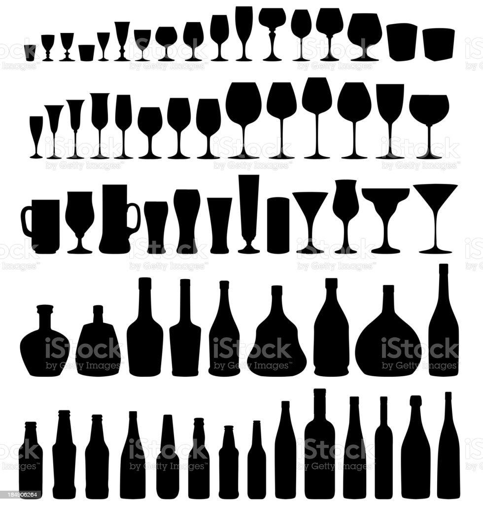 Verre et bouteille de silhouette vecteur ensemble. - Illustration vectorielle