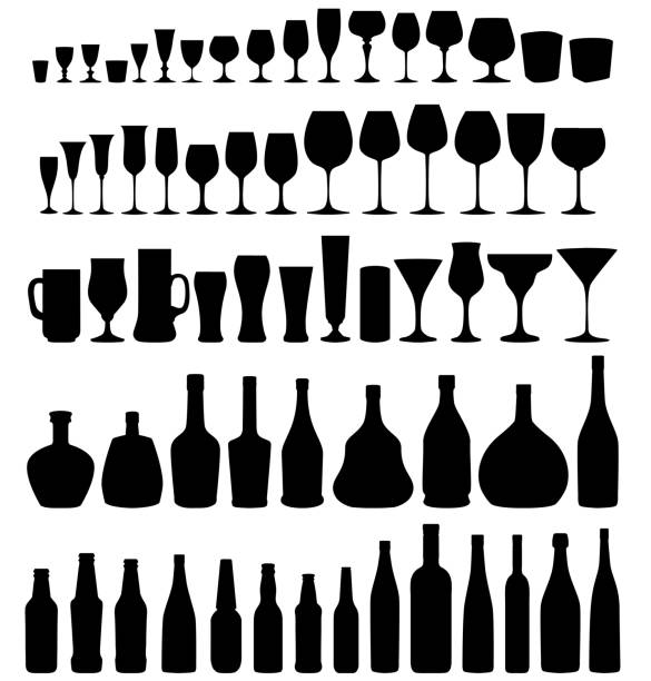 glass and bottle vector silhouette set. - alcohol drink silhouettes stock illustrations