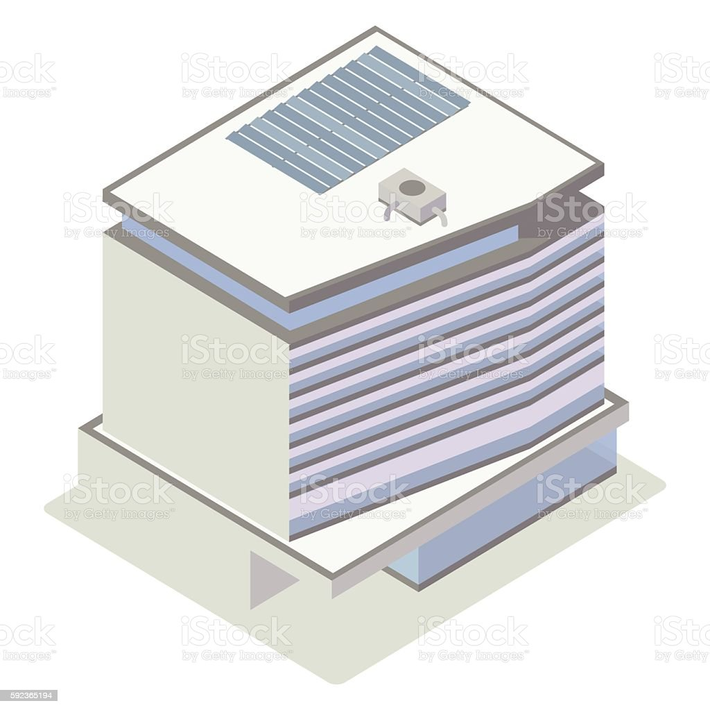 Glass and concrete building illustration vector art illustration