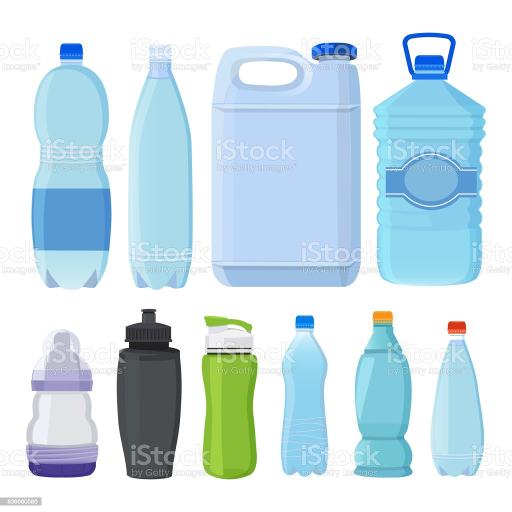 Glass and plastic bottles of different types for alcohol and water vector art illustration