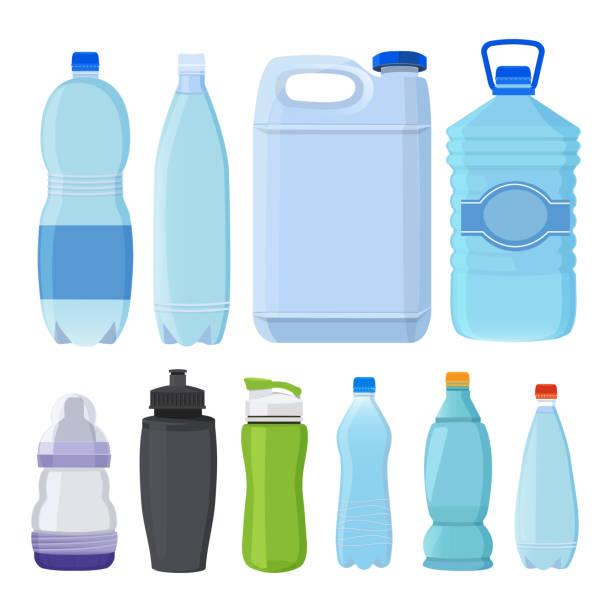 illustrations, cliparts, dessins animés et icônes de verre et bouteilles en plastique de différents types d'alcool et d'eau - bouteille d'eau