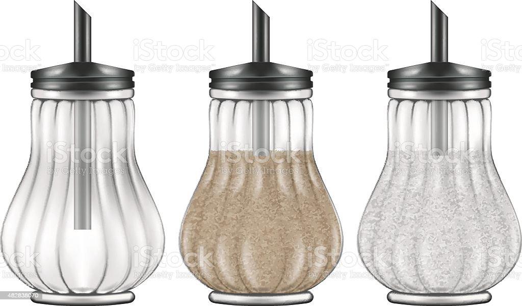 Glass and steel sugar dispenser in three versions. vector art illustration