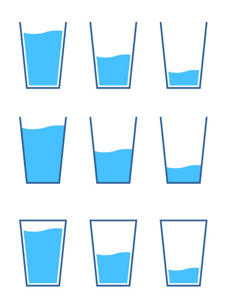 Glass and water icon set, Variation of quantity Glass and water icon set, Variation of quantity volume fluid capacity stock illustrations