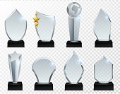 Glass award. Transparent crystal trophy, acrylic achievement and winner prize isolated vector championship triumph set