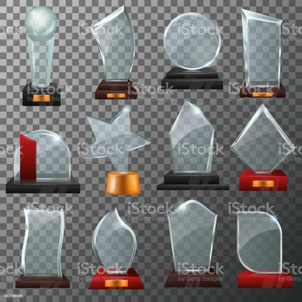 Ilustración de Trofeo De Cristal De Vector De Vidrio Premio O Premio ...