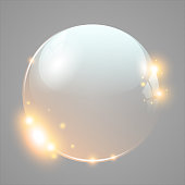 Vector transparent bubble with glitter on plain background