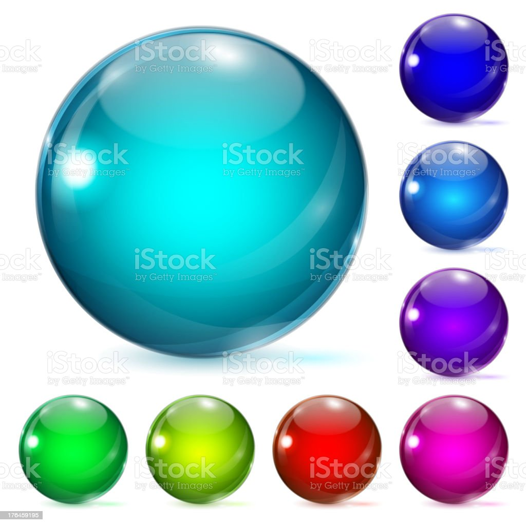 Glass balls of various sizes and colors vector art illustration