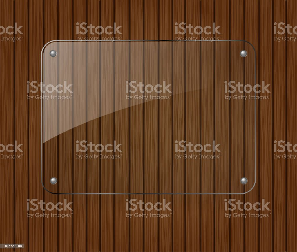 Glass banner on wooden background royalty-free stock vector art