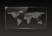 Transparent plastic or glass banner with a map of the earth on a black background. Transparent billboard with highlights. Transparent TV. Vector illustration.