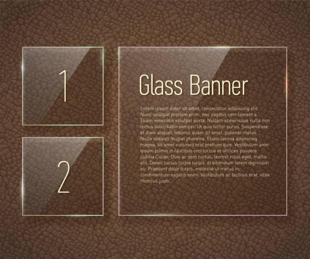 glas-banner auf einem leder-hintergrund mit transluzenten viktorianischen muster. - lederverarbeitung stock-grafiken, -clipart, -cartoons und -symbole