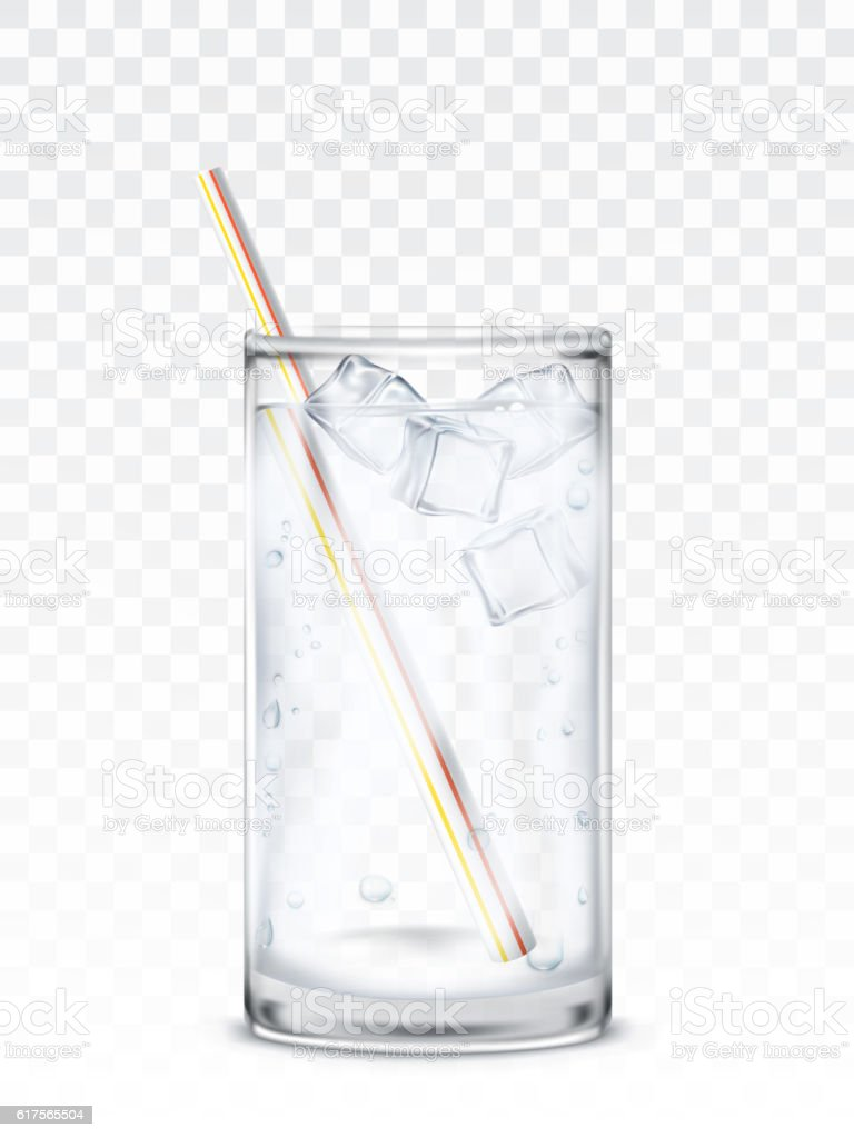 Glass beaker with water, ice cubes and a straw - illustrazione arte vettoriale