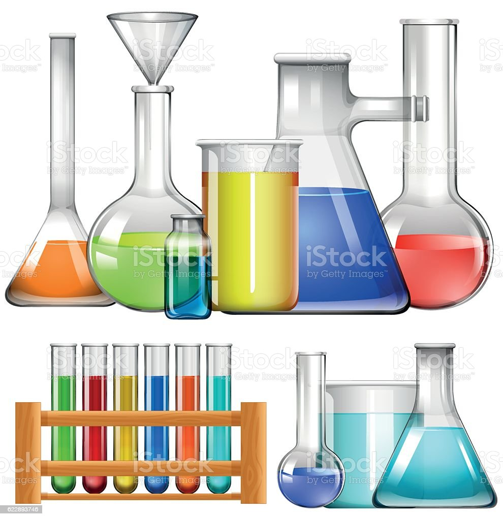 Glass beakers and test tubes stock vector art more for Glass test tubes for crafts