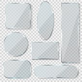 Glass blank banners. Rectangle circle glass texture window plastic clear labels with reflection acrylic shiny panels vector 3d set