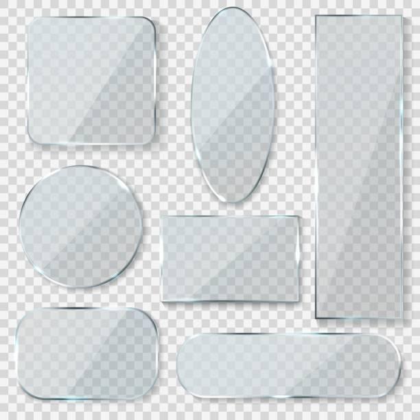 illustrations, cliparts, dessins animés et icônes de bannières vierges en verre. rectangle cercle verre texture fenêtre en plastique clair étiquettes avec réflexion acrylique brillant panneaux - miroir