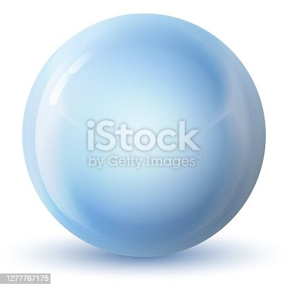 istock Glass blue ball or precious pearl. Glossy realistic ball, 3D abstract vector illustration highlighted on a white background. Big metal bubble with shadow. 1277767175