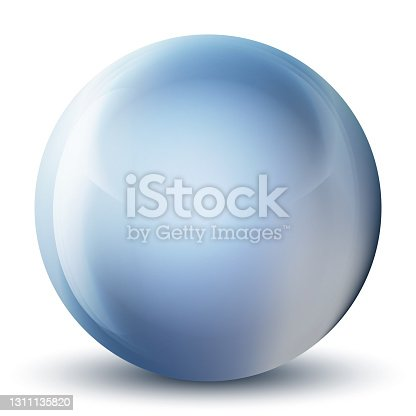 istock Glass blue ball or precious pearl. Glossy realistic ball, 3D abstract vector illustration highlighted on a white background. Big metal bubble with shadow. 1311135820