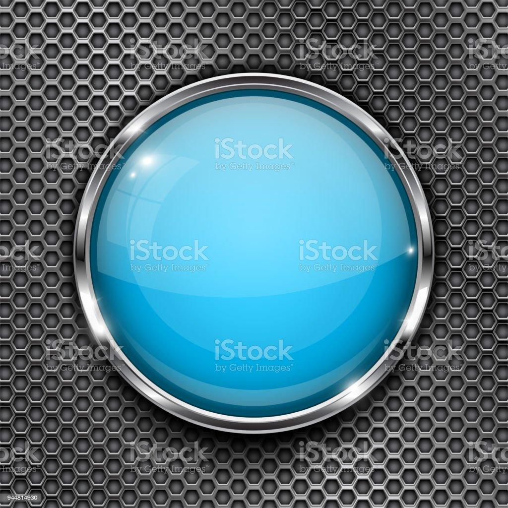 Botón Azul De Vidrio Con Marco De Cromo En Textura Perforada Del ...