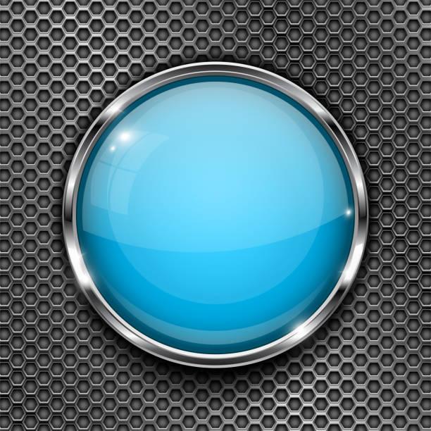 玻璃藍色按鈕與鍍鉻框, 對金屬穿孔紋理。圓形閃亮的3d 圖示向量藝術插圖