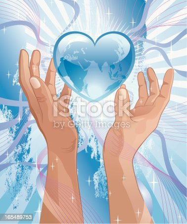 Shiny Glass Heart in between two Praising Hands with sprinkled stardust against festive, grungy, radiant Blue Background. The Heart superimposed with the World Map shows detailed vector of Africa, Europe and Asia maps. Vector-Based Illustration, No gradient mesh and 3D program used. Download Includes: High Resolution JPG, Illustrator EPS & AI.