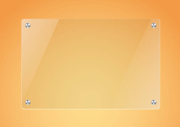 glass board in orange background - glasteller stock-grafiken, -clipart, -cartoons und -symbole