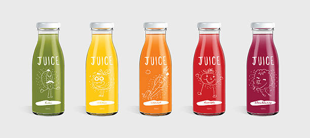 stockillustraties, clipart, cartoons en iconen met glass bottle of juice and brand concept - sapjes
