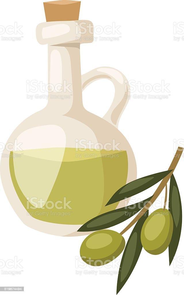 Frasco de vidro de premium azeite virgem e alguns Azeitonas - ilustração de arte vetorial