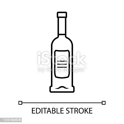 Glass bottle of wine, gin, absinthe linear icon. Alcoholic drink, beverage. Stemware in bar, cafe, restaurant. Thin line illustration. Contour symbol. Vector isolated outline drawing. Editable stroke