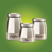 Glass bottle packaging for fruit jam design.coffee