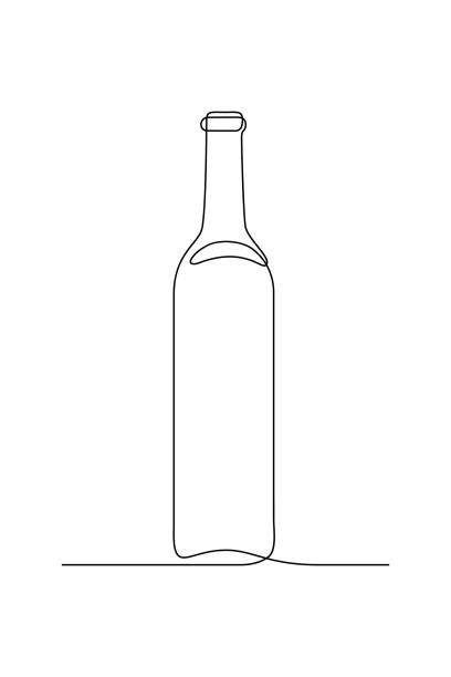 Glass bottle Glass bottle of wine in continuous line art drawing style. Minimalist black linear sketch isolated on white background. Vector illustration drawing of a glass liquor flask stock illustrations