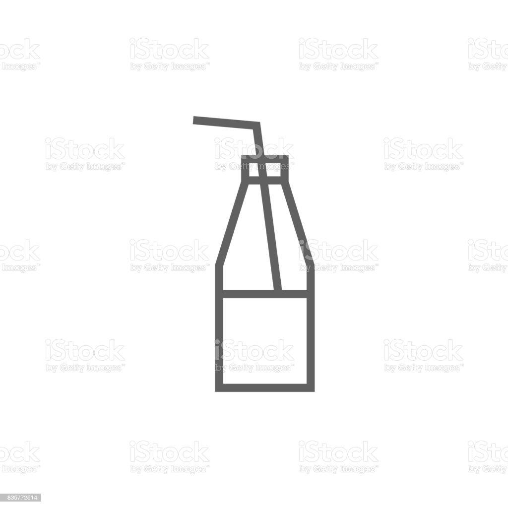 flasche mit glas mit strohhalm linieicon stock vektor art und mehr bilder von alkoholfreies. Black Bedroom Furniture Sets. Home Design Ideas
