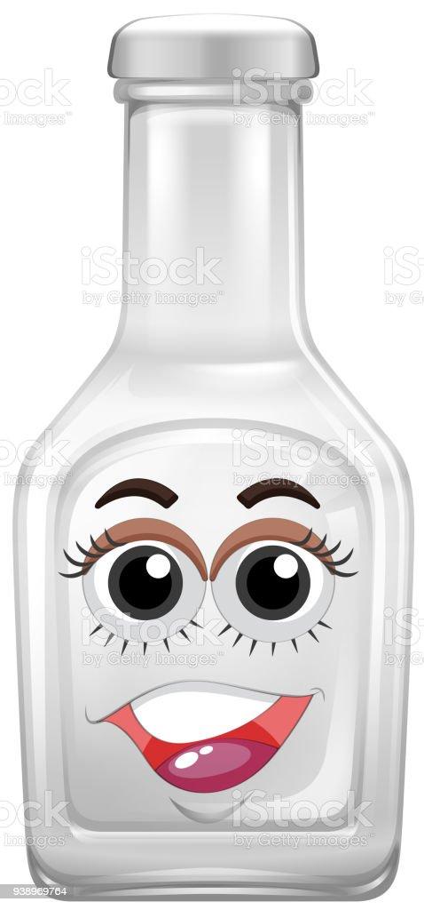 Ilustración de Botella De Cristal Con Cara Feliz y más banco de ...