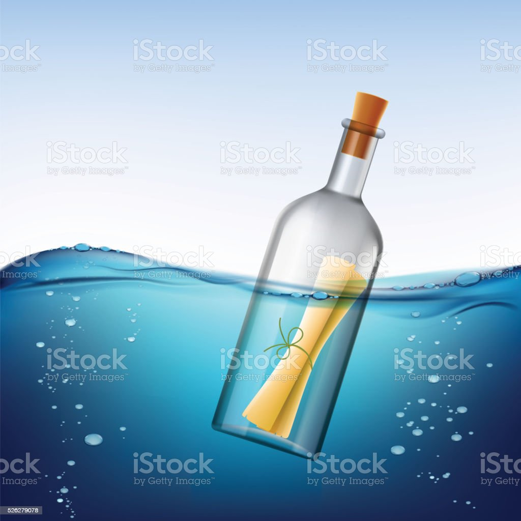 Glass bottle with message, floats in the water. vector art illustration