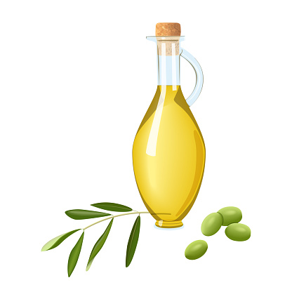 Glass bottle with olive oil, immature green olives, branch and leaf. Card template text. Oilplant