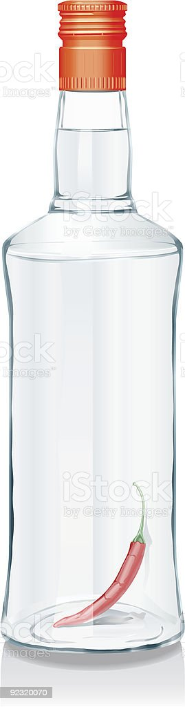 Glass bottle with Russian vodka royalty-free stock vector art