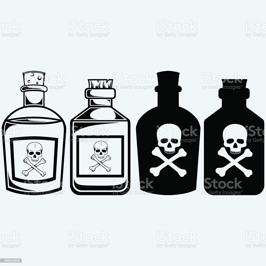Glass bottles of poison