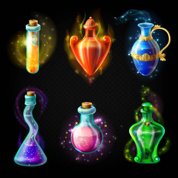 Glass bottles with a magical potion Glass bottles with a magical potion, sealed jars of different shape with sparkling multi-colored elixir, isolated on a black background. Vector game icons, elements for game design potion stock illustrations