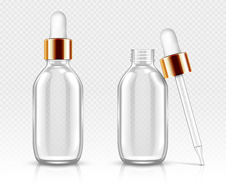 Glass bottles with dropper for serum or oil mockup