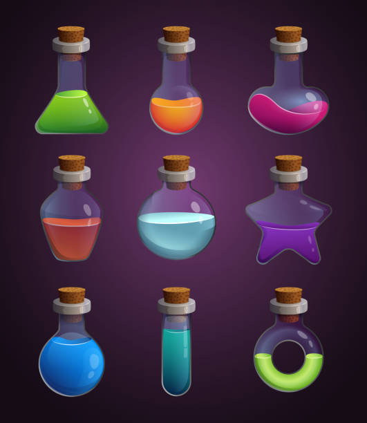 Glass bottles with various liquids. Pictures in cartoon style Glass bottles with various liquids. Pictures in cartoon style. Bottle elixir of set, potion magic flask illustration potion stock illustrations