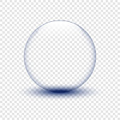 Glass bowl with shadow on isolated background. Water drop. Glass sphere. Bubble. Eps10