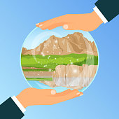 Businessman holding a glass bowl with vacation dream to the river, vector illustration